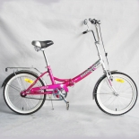 Russian pink folding bike with glass